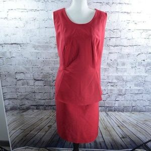 Eloquii Red Sleeveless Peplum Career Sheath Dress